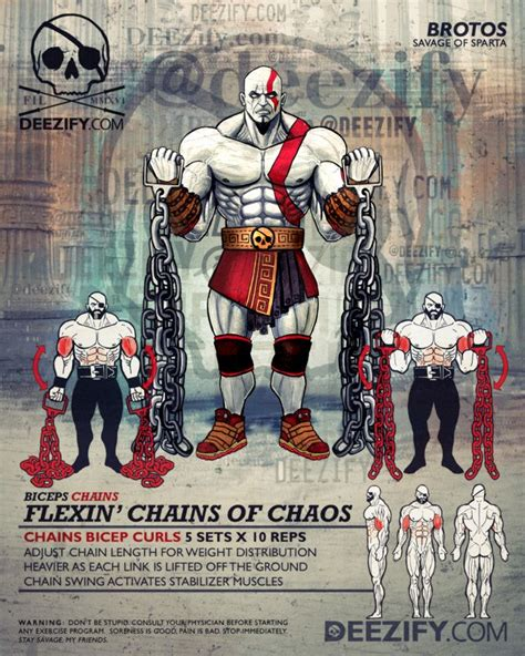 bicep exercises: bicep curls with chains kratos   Workout