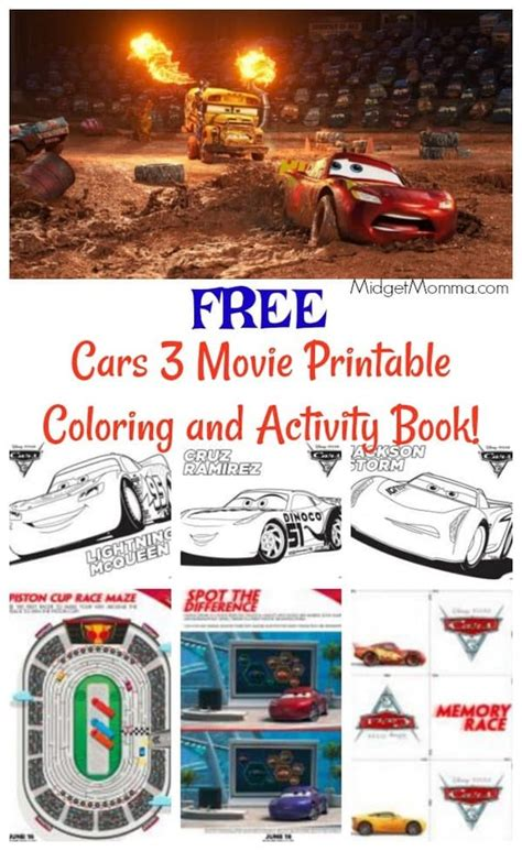 FREE Cars 3 Movie Printable Coloring Pages and Activity