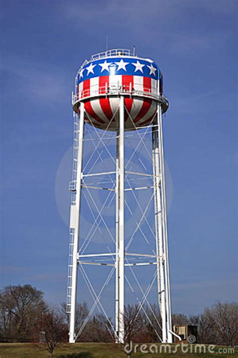 Patriotic Red White Blue American Water Tower Stock Photo