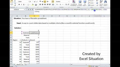 Excel Countifs visible (filtered) data - YouTube