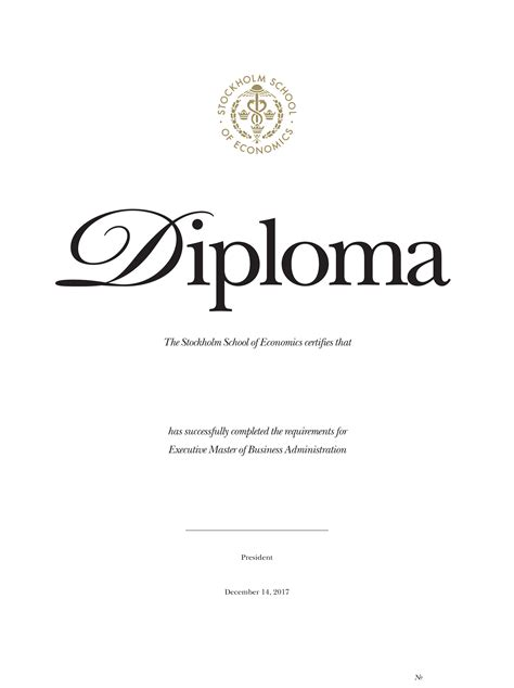 Diploma of the Stockholm School of Economics in Russia and