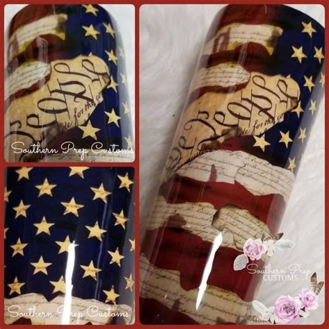 Distressed American Flag Tumbler- Constitution for White