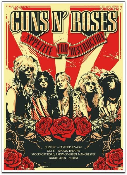 Guns N' Roses, limited edition concert lithograph