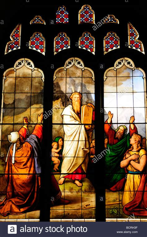 Stained Glass Window depicting Moses and the 10