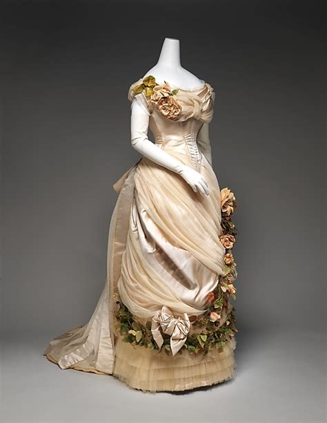 1880s Late Victorian Bustle French Silk Theater Dress