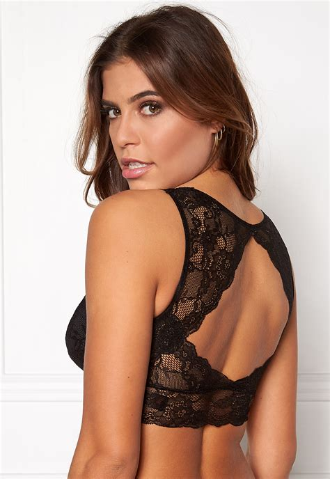 Pieces Delso padded lace bra Black - Bubbleroom