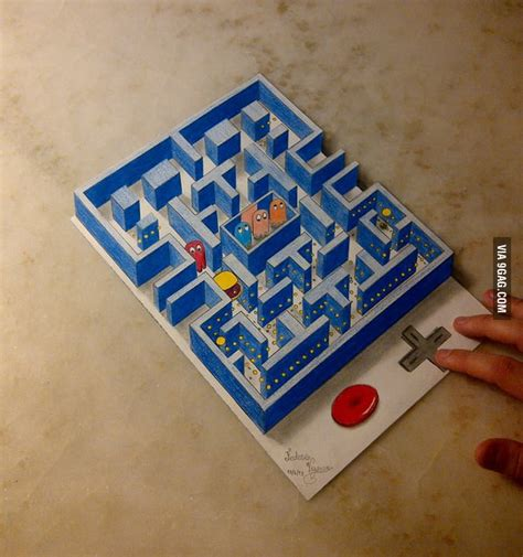 Awesome Pacman 3D drawing! - 9GAG