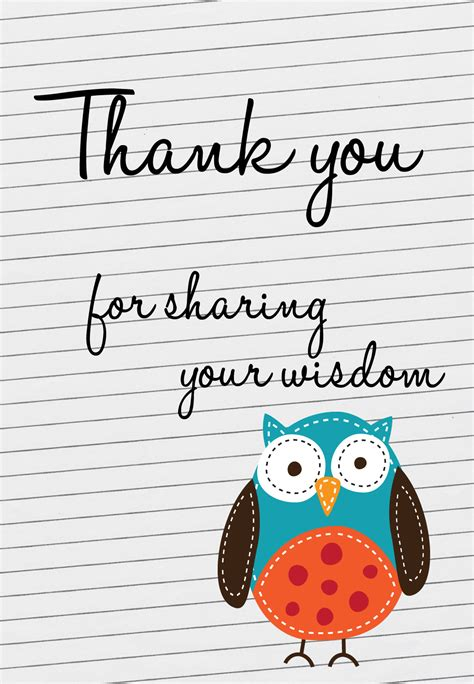 For Sharing Your Widsom - Thank You Card For Teacher (Free