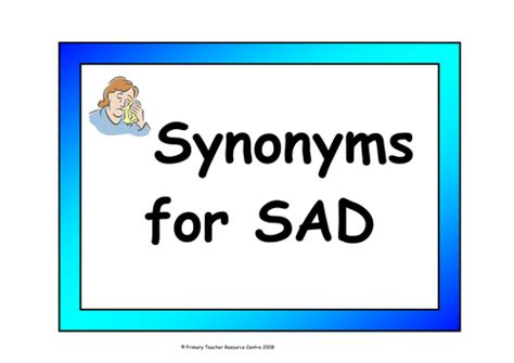 Synonyms display vocabulary cards for happy and sad by