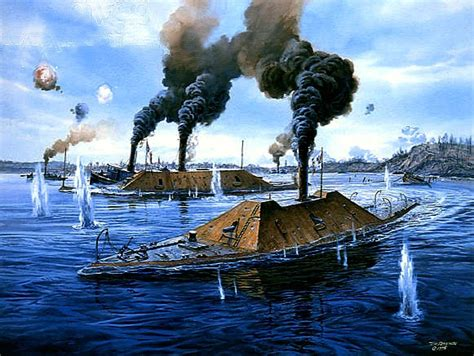 CSS Fredericksburg and CSS Virginia II under fire from