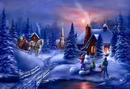 Winter scene - Other & Abstract Background Wallpapers on