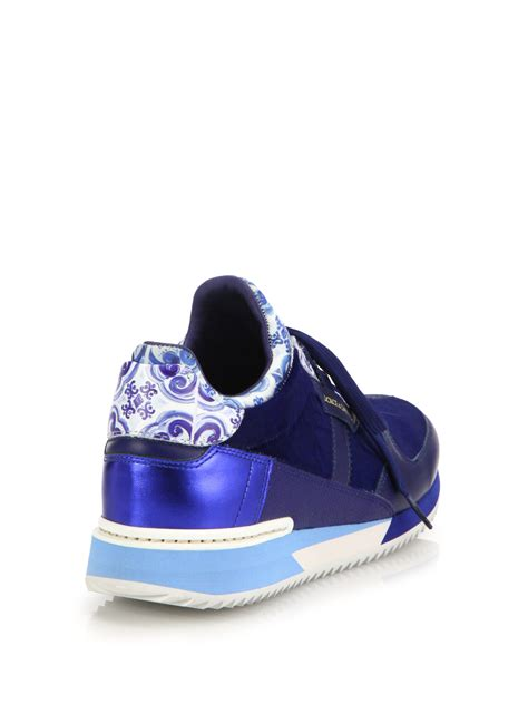 Dolce & gabbana Tile-Print Leather & Calf Hair Sneakers in