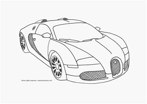 bugatti drawings in pencil | Supercar coloring page